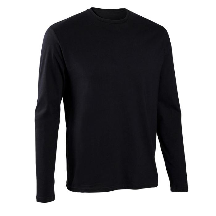 Shirt 100 met lange mouwen voor heren zwart