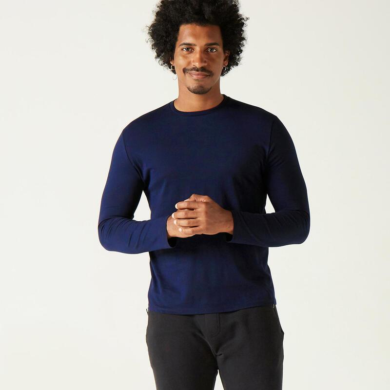 Fitness Long-Sleeved Cotton T-Shirt - Dark Blue