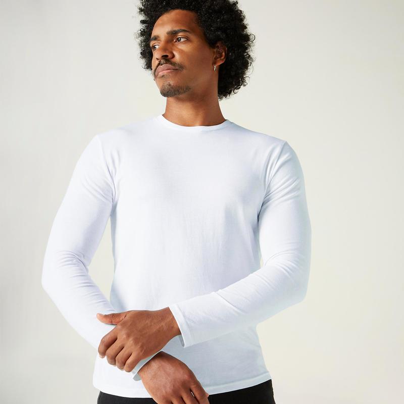 Camiseta fitness Basic manga larga slim algodón cuello redondo blanco hombre