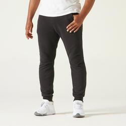 Joggingbroek voor pilates en lichte gym 500 slim fit ritszakken molton zwart