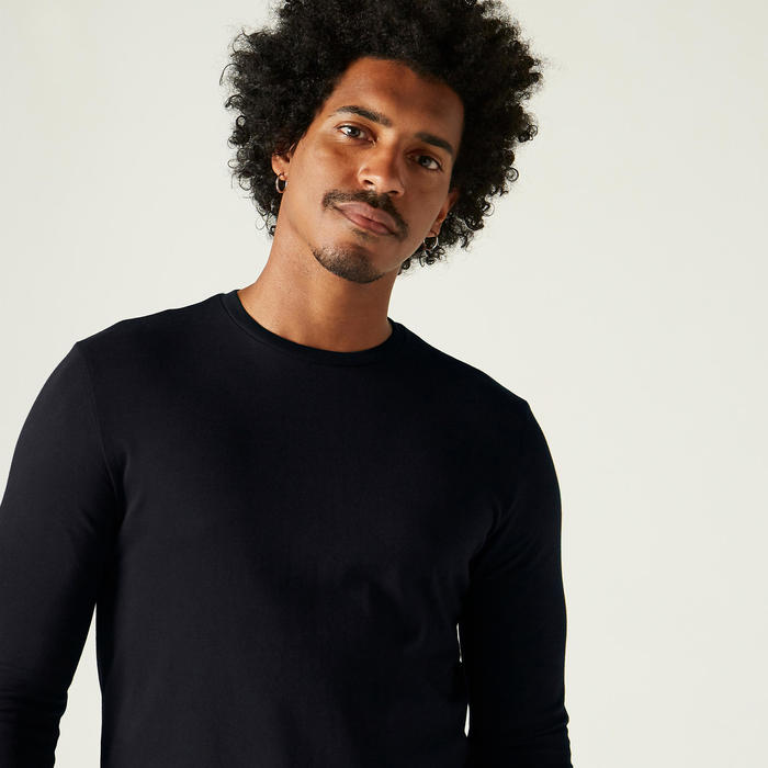 T-Shirt Manches Longues 100 Homme Noir