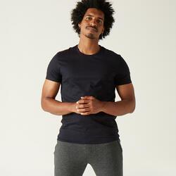 T-Shirt voor pilates en lichte gym heren 100 volledig katoen regular zwart