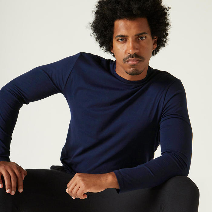Shirt 100 met lange mouwen voor heren donkerblauw