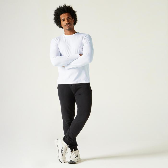 Heren-T-shirt met lange mouwen voor pilates en lichte gym 100 wit