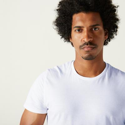 T-Shirt 100% Coton Fitness Sportee Blanc