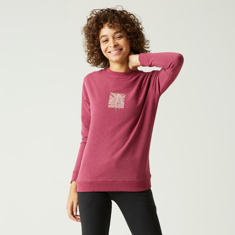 Sweater voor fitness ronde hals paars met motief