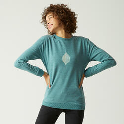 Sweater voor fitness ronde hals groen met motief