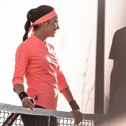 Tennisshirt met driekwartmouwen voor dames 900 Dry koraal