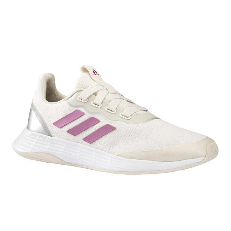 Chaussures marche sportive femme Adidas QT Racer Sport blanc / rose