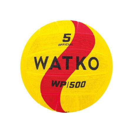 Balón Waterpolo WP500 Adulto Tamaño 5 Amarillo/Rojo