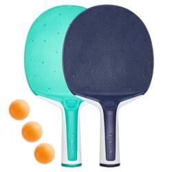 Tischtennis-Set 2 robuste Schläger PPR 130 O und 3 Bälle