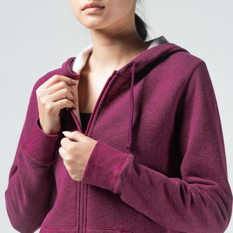 Sweat Zippé capuche chaud Fitness Violet