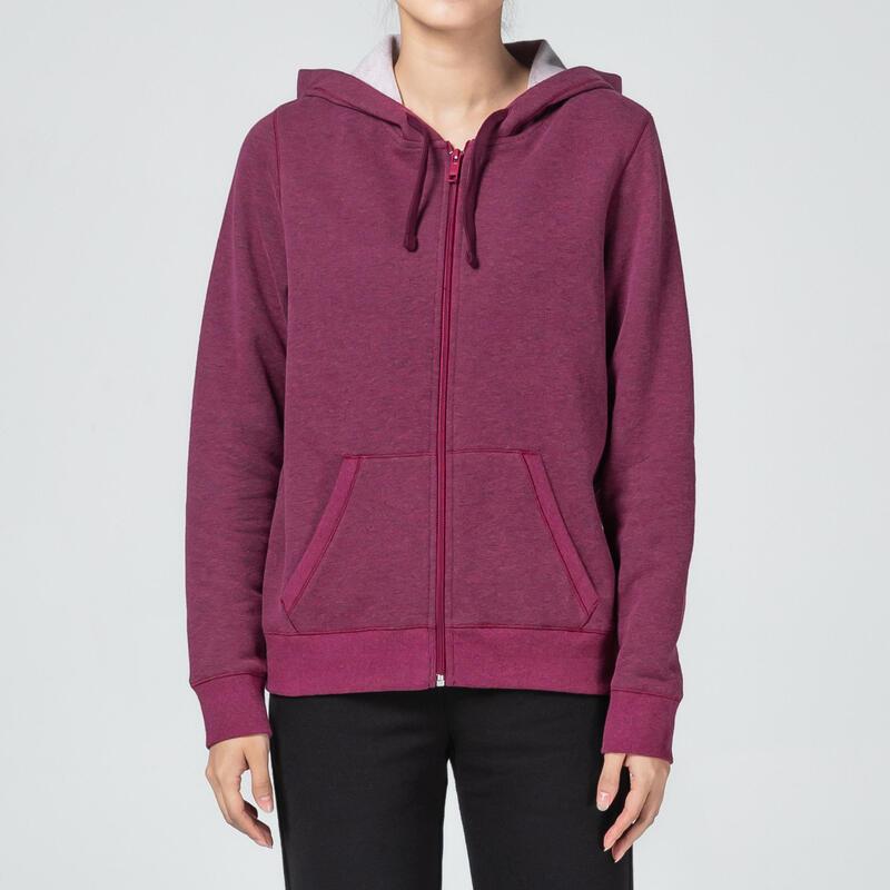 Warme hoodie met rits voor fitness paars