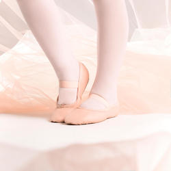 Meias-Pontas de Sola Inteira Couro Dança Clássica Rosa Com Cordão Tamanhos 25-40