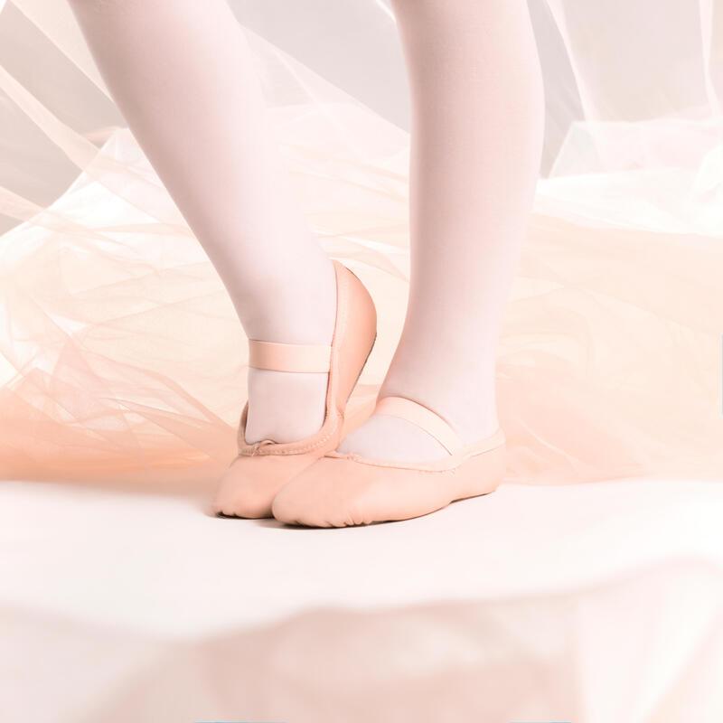 Demi-pointes danse classique cuir semelle entière rose avec lien tailles 25-40