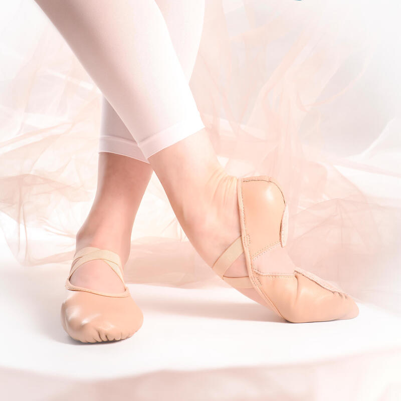 Demi-pointes danse classique bi-semelles en cuir souple beige tailles 28-40