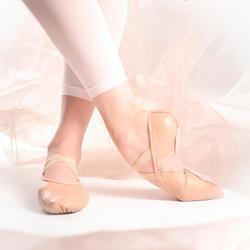 Balletschoenen leren demi-pointes met splitzool beige maat 28-40