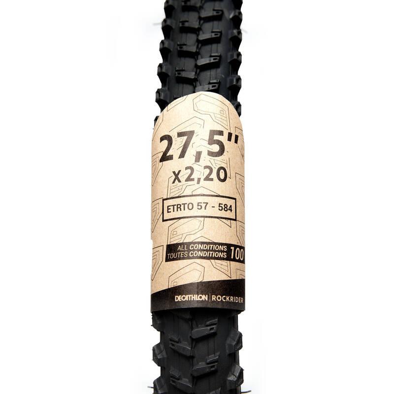 PLÁŠTĚ NA MTB SMÍŠENÝ TERÉN Cyklistika - PLÁŠŤ ALL CONDITIONS 27,5X2,20 BTWIN - Náhradní díly a údržba kola