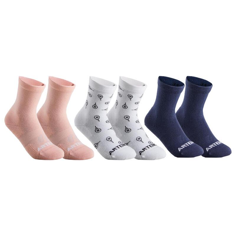 Tennissokken voor kinderen RS 160 high roze/wit/marineblauw 6 paar