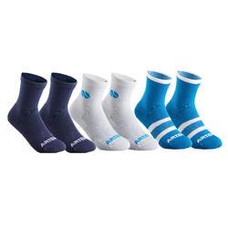 Tennissokken voor kinderen RS 160 high wit/marineblauw/blauw 6 paar