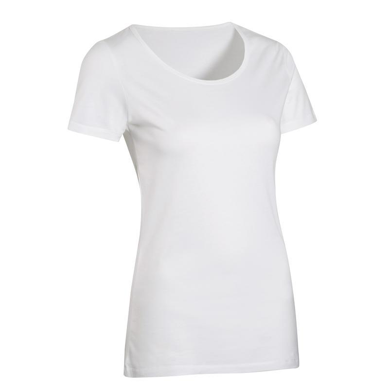 T-Shirt 100% Coton Fitness Blanc