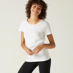 Gym T-shirt voor dames Sportee 100% katoen wit