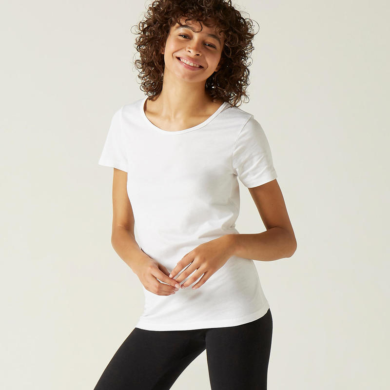 T-shirt donna fitness 100 bianca