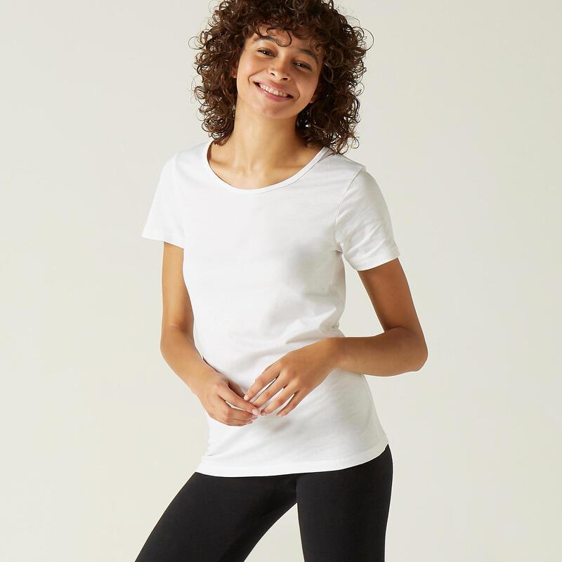 T-shirt voor fitness 100% katoen wit