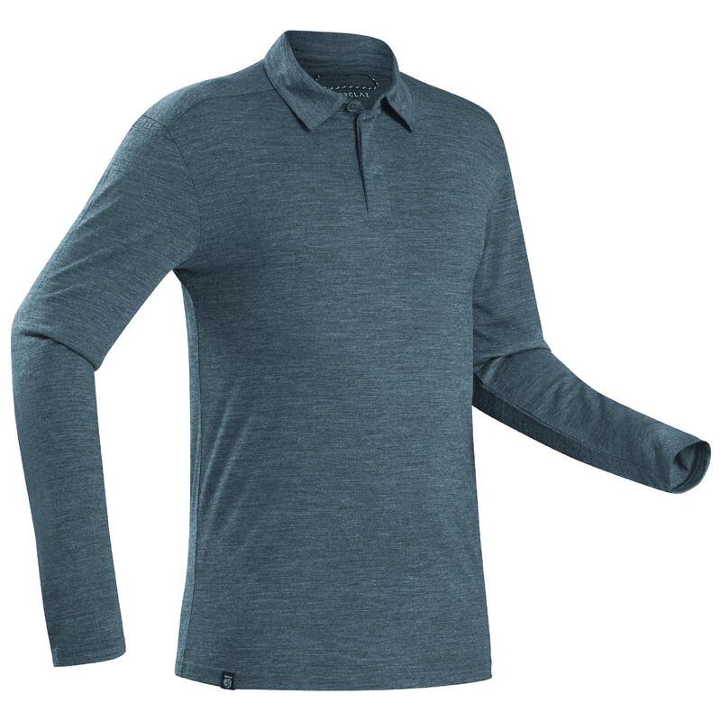 Men's Long-sleeved Travel Trekking Merino Wool Polo Shirt - TRAVEL 500 - Blue