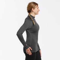 Sous-vêtement de ski Femme 500 1/2 zip haut gris foncé