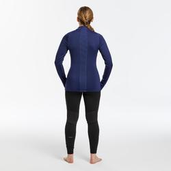 Sous-vêtement de ski Femme 500 1/2 zip haut bleu marine