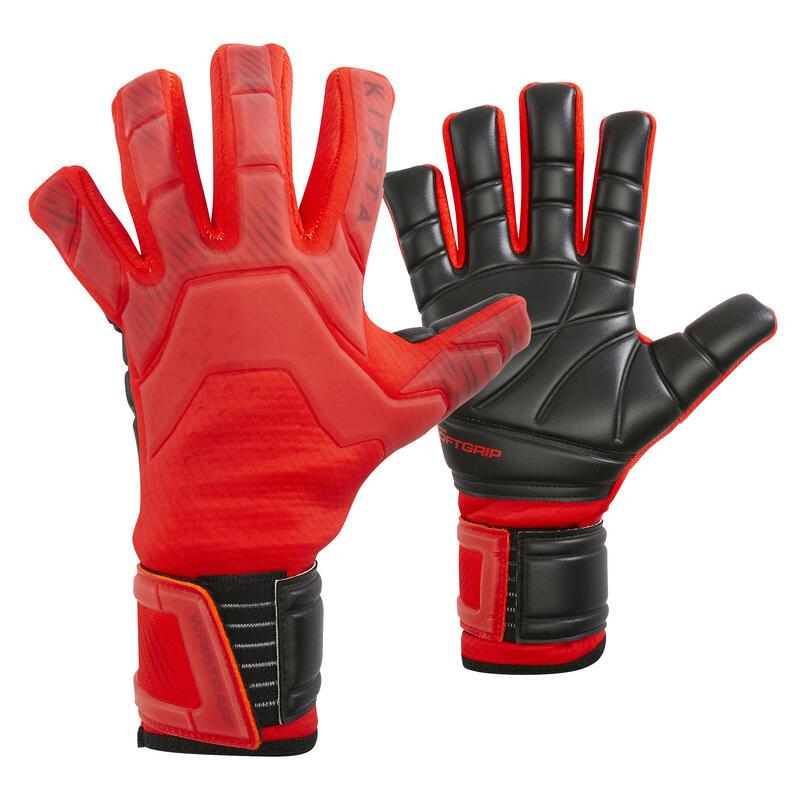 Keepershandschoenen voetbal volwassenen F900 negatieve naad rood zwart
