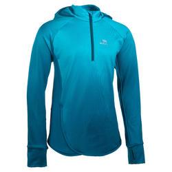 Camisola de Iniciação à Corrida Tempo Frio Menina AT 500 Azul Esbatido