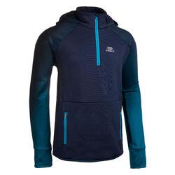 Atletiekshirt met lange mouwen voor kinderen AT 500 koud weer dégradé blauw
