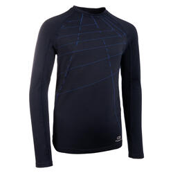 Tee-shirt manches longues enfant de running AT 500 Skincare bleu marine