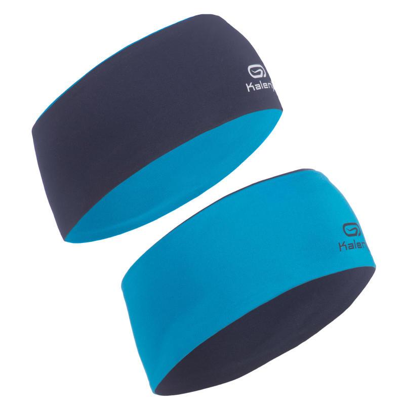 Bandeau enfant hiver réversible d'athlétisme bleu marine et bleu cyan