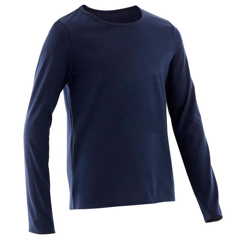 T-Shirt basique manches longues marine ENFANT