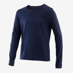 T-shirt manches longues enfant coton - Basique bleu