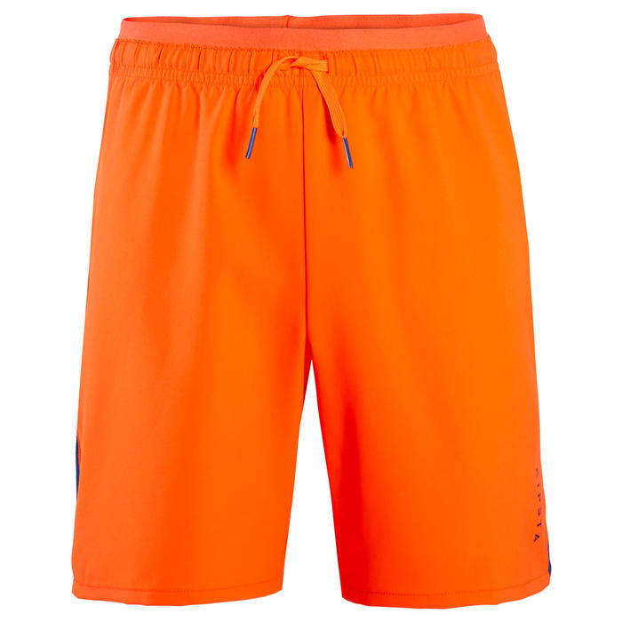 Short de football enfant F520 bleu et orange