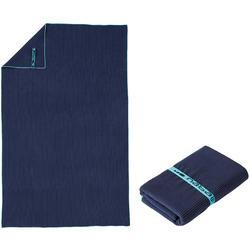 Microvezel handdoek blauw met strepen maat L 80 x 130 cm