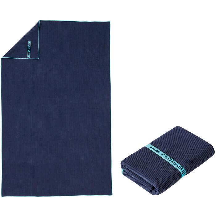 Microvezelhanddoek blauw met strepen maat L 80 x 130 cm