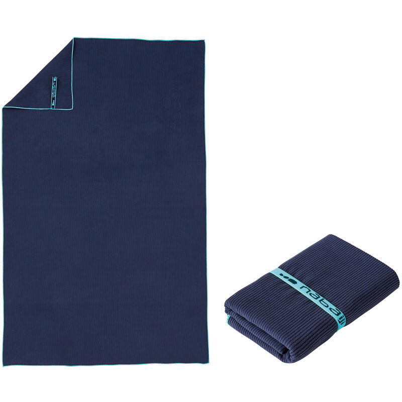 Toalha de natação microfibras azul escuro com riscas tamanho L 80 x 130 cm