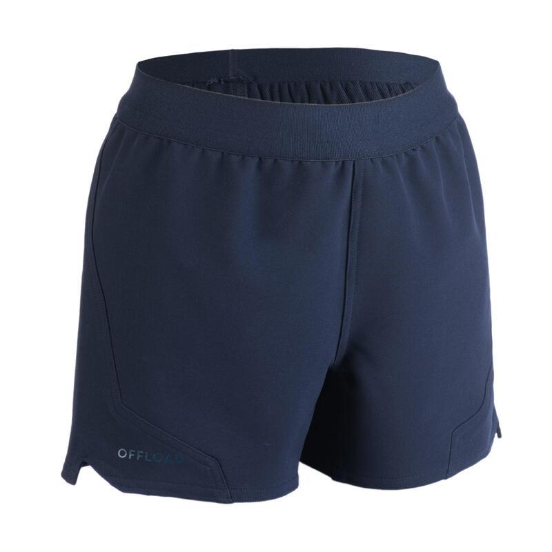 Rugbyshort voor kinderen R500 marineblauw