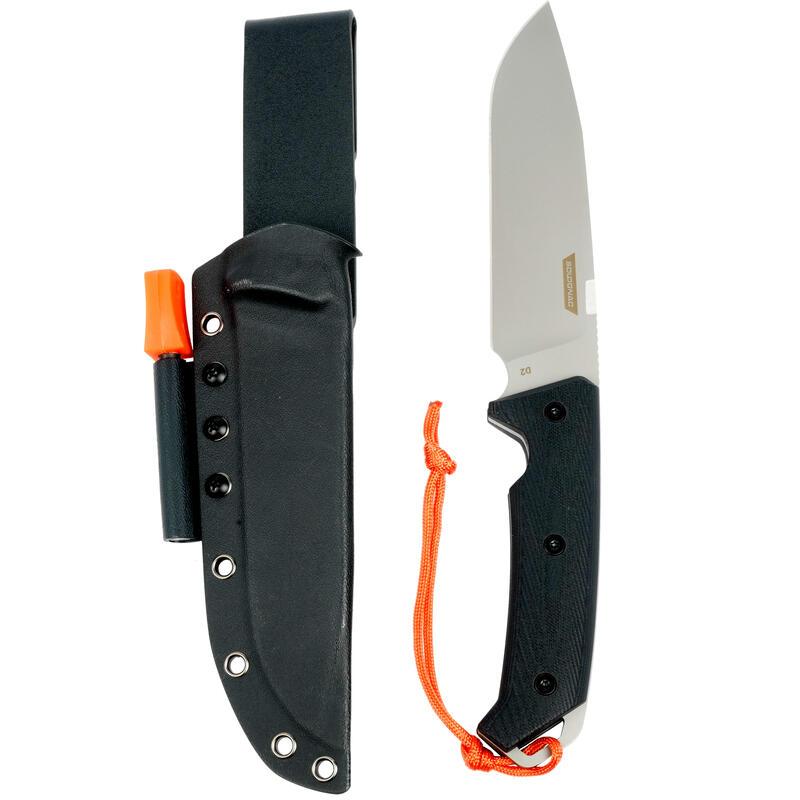 Couteau Bushcraft Fixe 15cm solide noir SIKA 150 G10