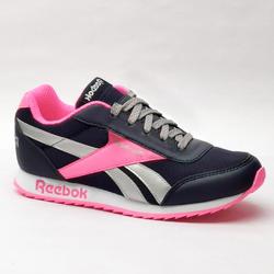 Calçado de caminhada desportiva criança c/ atacadores Reebok Classic preto/rosa