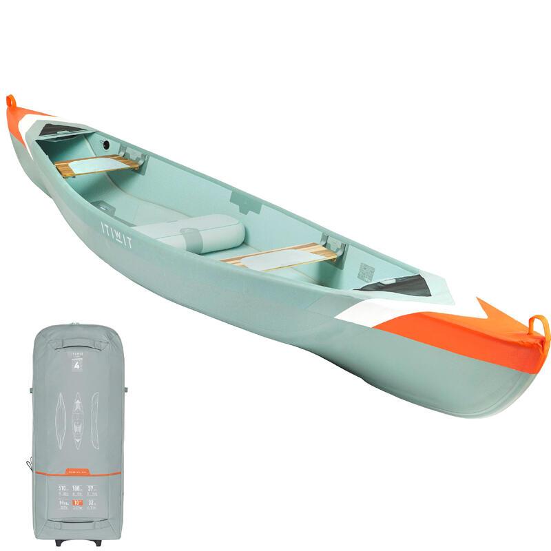 Canoa Hinchable X500 Drop Stitch Alta Presión Itiwit 4Plazas 2 Adultos + 2 Niños