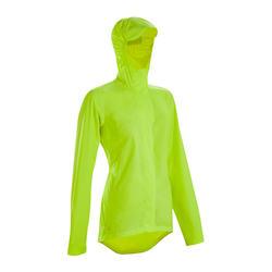 Regenjas voor op de fiets dames 100 fluogeel PBM zichtbaarheid overdag