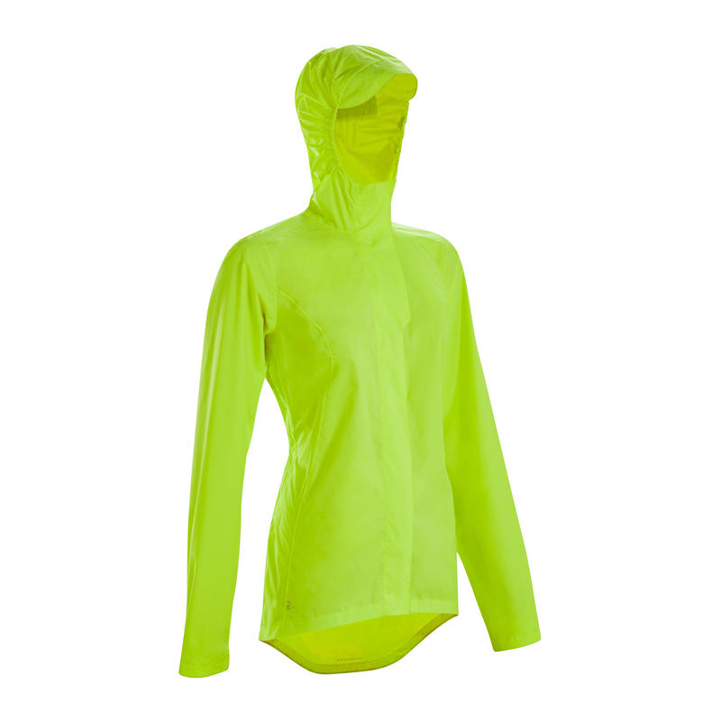 Women's City Cycling Rain Jacket 120 PPE Daily Visibility Certified Neon Yellow