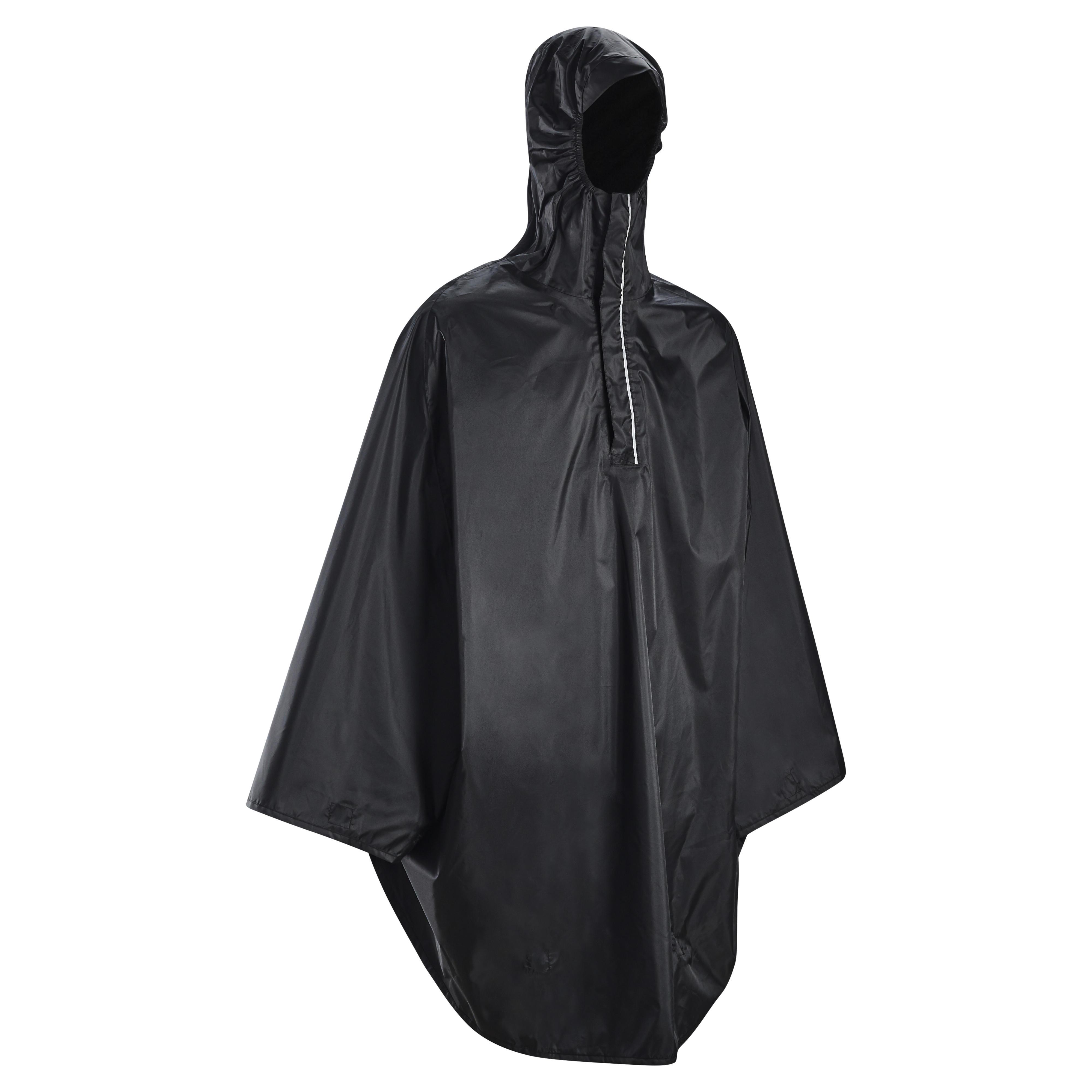 St.Oswalds Poncho Pluie Homme Impermeable Pancho Cape Adulte Velo Randonnee Chasse 3 en 1 Parapluie Tente avec Sac Noir
