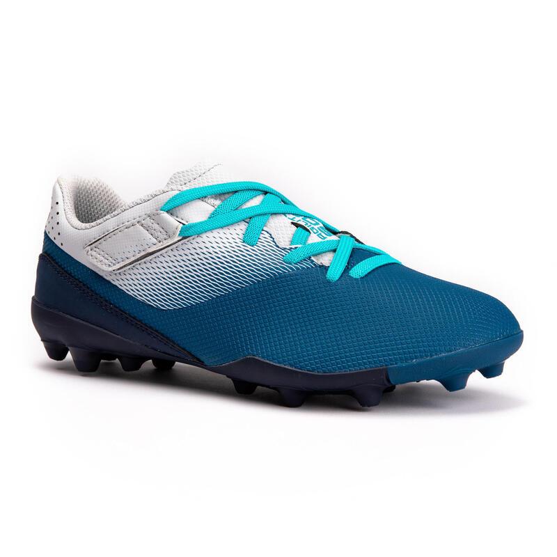 Voetbalschoenen voor kinderen Agility 500 MG klittenband grijs/blauw